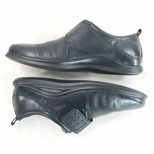 Ecco Shoes - ECCO Black Leather Slip On Comfort Casual Shoes